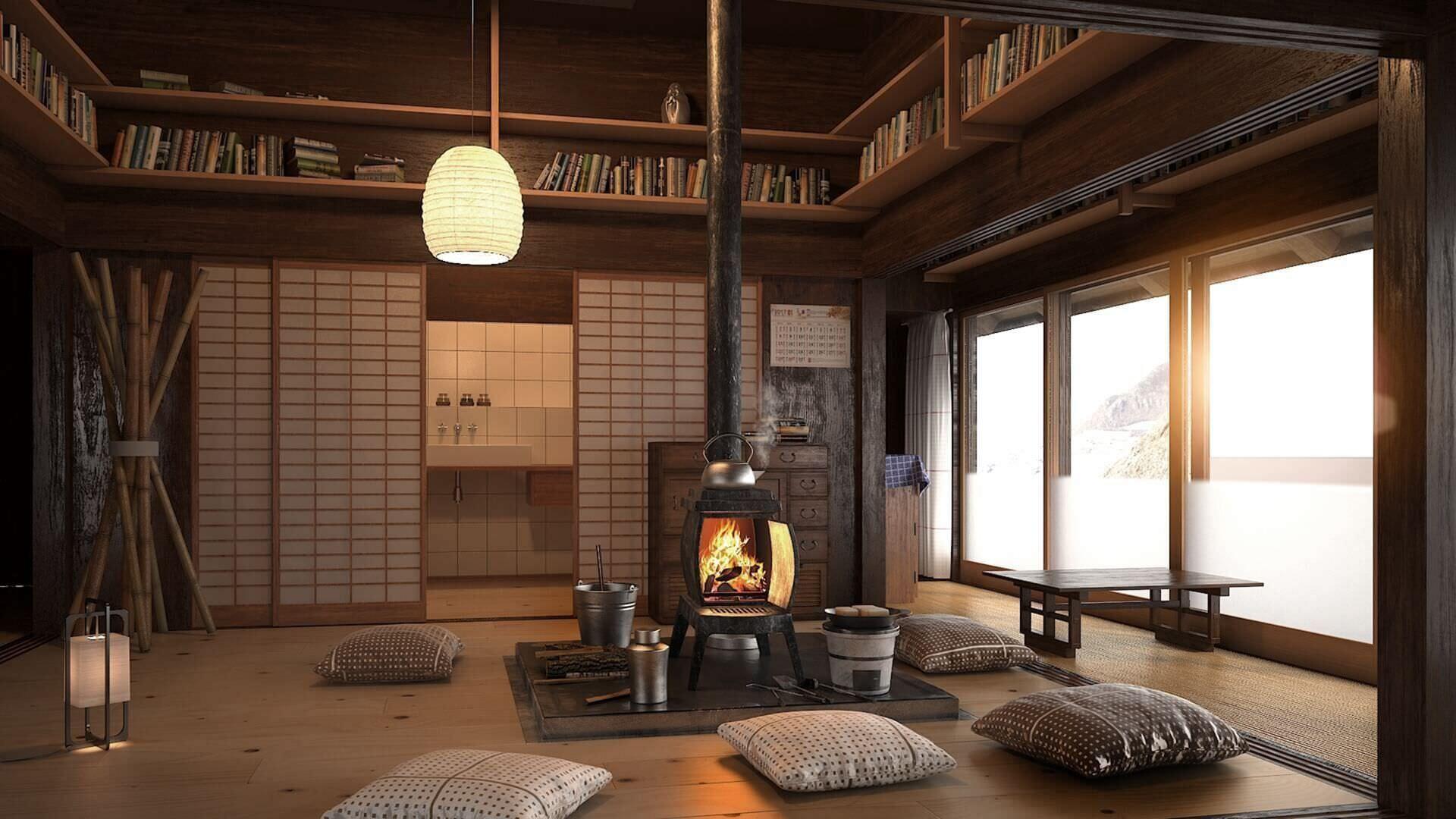 Thiết kế phòng khách đơn giản mà ấm cúng với tông màu gỗ trầm