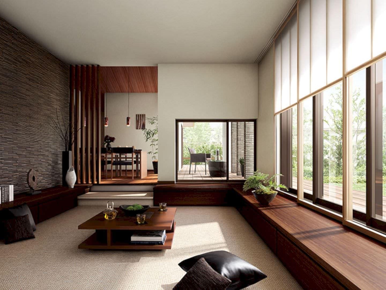 Phòng tiếp khách kiểu Nhật rộng rãi cho nhà biệt thự