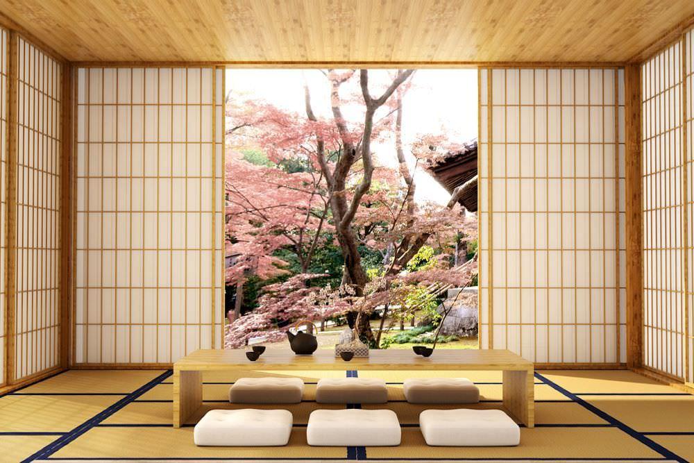 Mẫu phòng khách kiểu Nhật với gam màu sáng và cửa trượt được bố trí nhiều phía giúp căn phòng đón nhiều ánh sáng hơn, rộng hơn