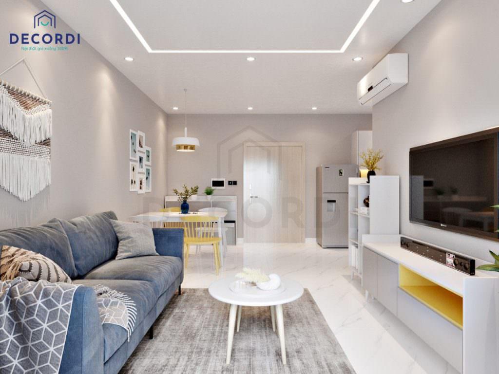 Thiết kế phòng khách liền bếp tiện lợi cho nhà chung cư nhỏ