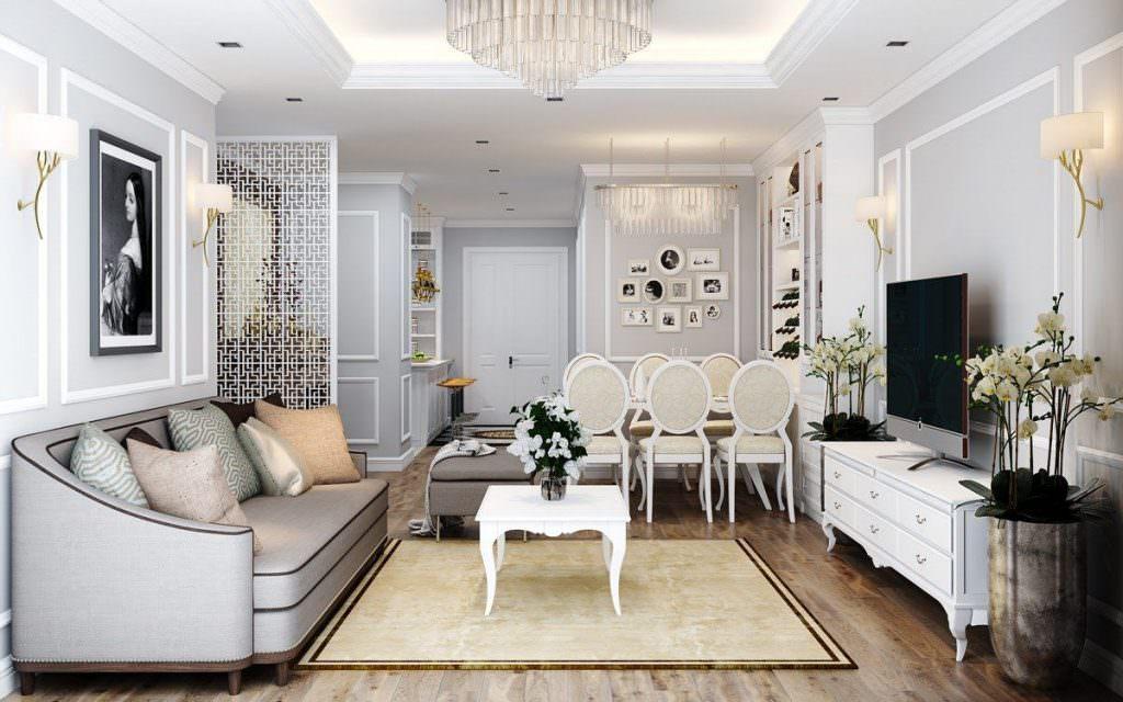Bộ nội thất phòng khách được lựa chọn kỹ lưỡng, cân đối với không gian chung
