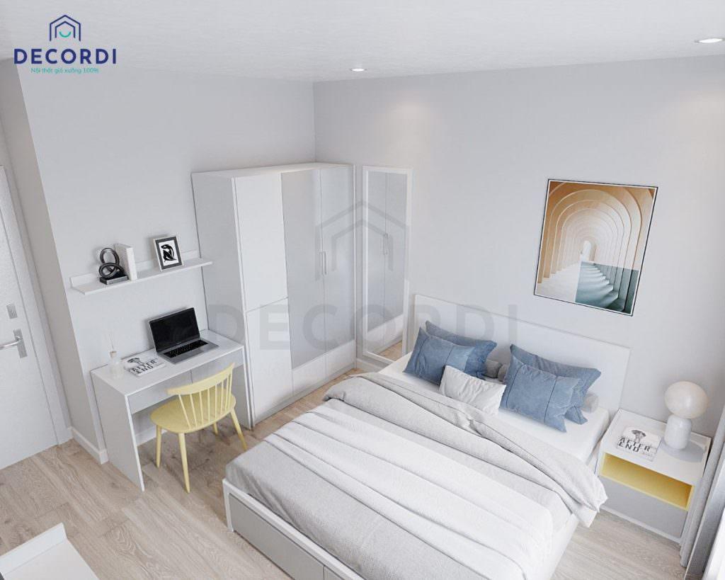 Bộ nội thất phòng ngủ được thiết kế đơn giản nhưng đa dạng công năng