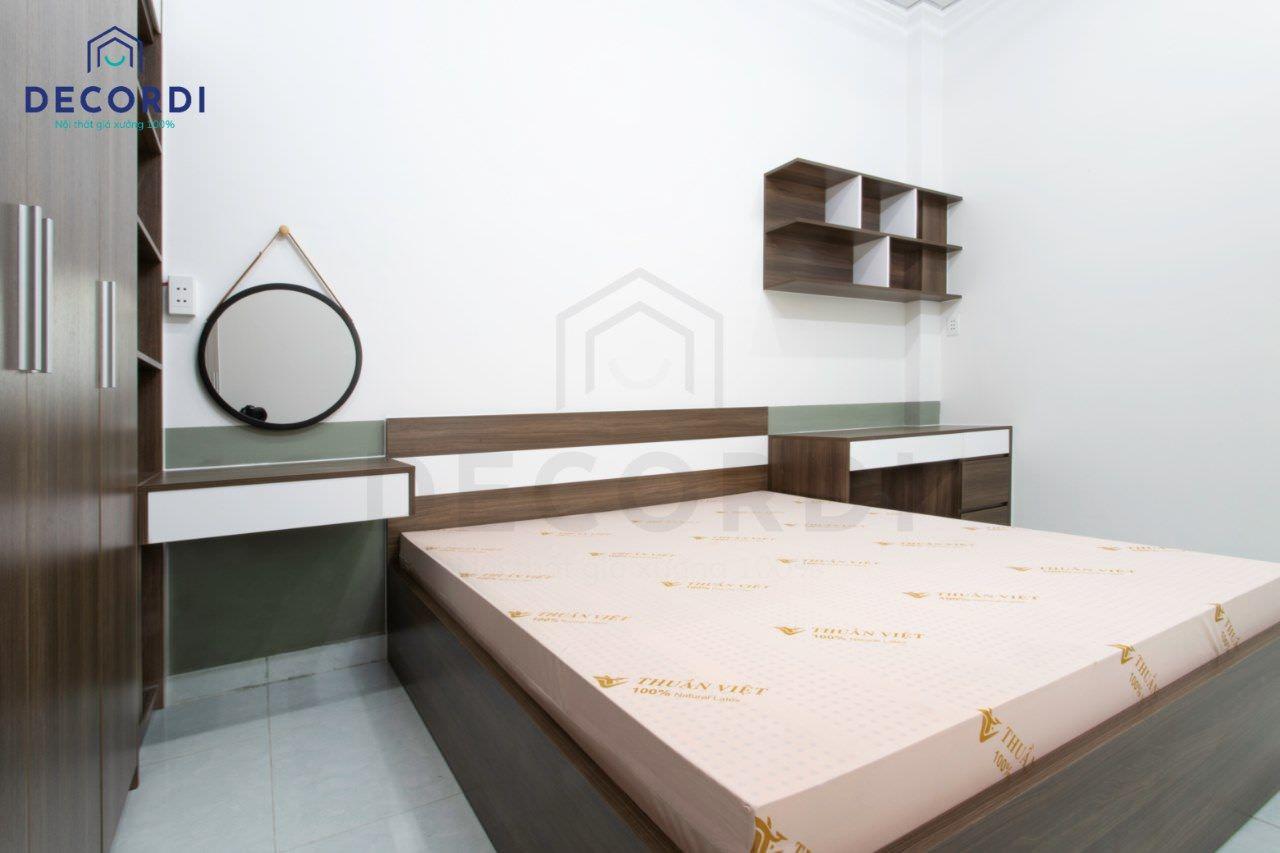 Thi công phòng ngủ master hiện đại gỗ công nghiệp
