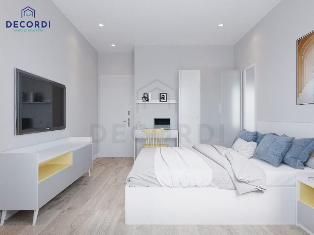 Không gian phòng ngủ chung cư thoáng đãng rộng rãi