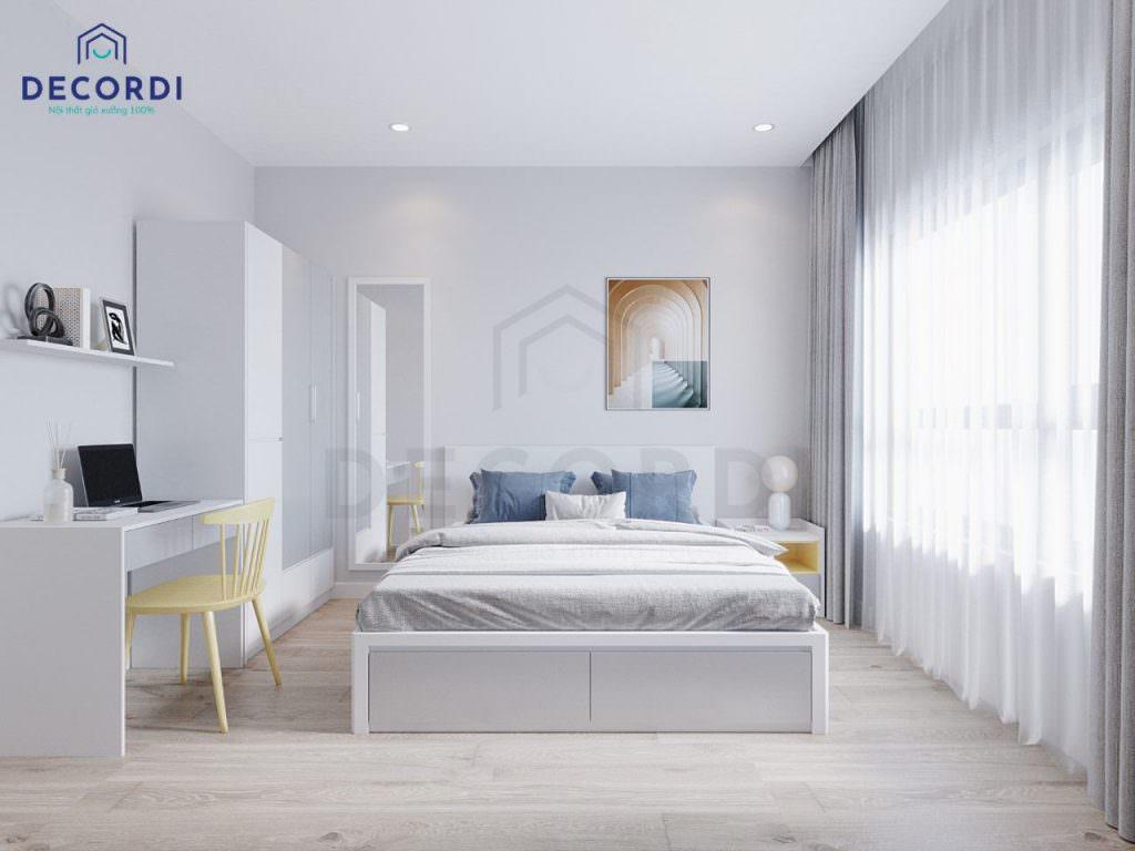 Thiết kế phòng ngủ master với gam màu sáng trẻ trung, hiện đại