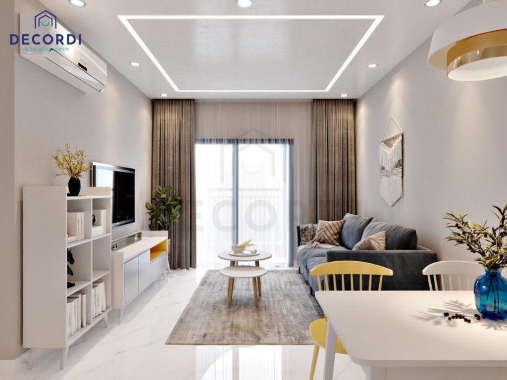 Thiết kế nội thất phòng khách đơn giản, tiện nghi
