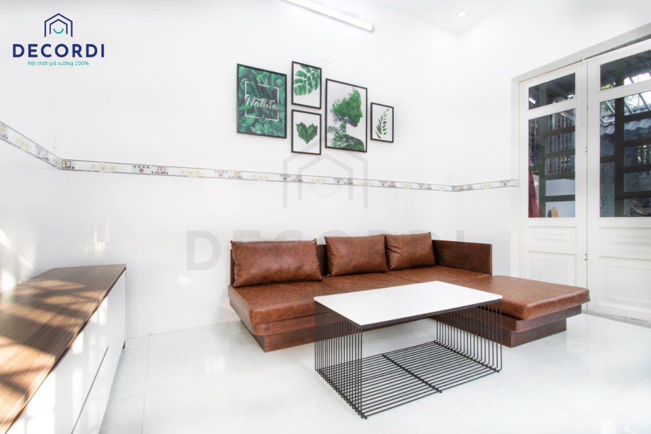 Bộ sofa gỗ phòng khách màu nâu sang trọng
