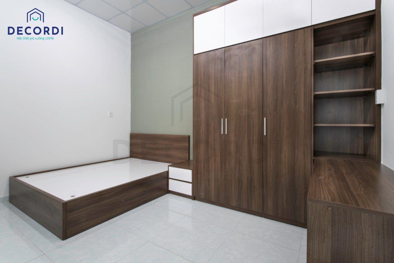 Cận cảnh chất liệu gỗ công nghiệp thi công phòng ngủ chất lượng