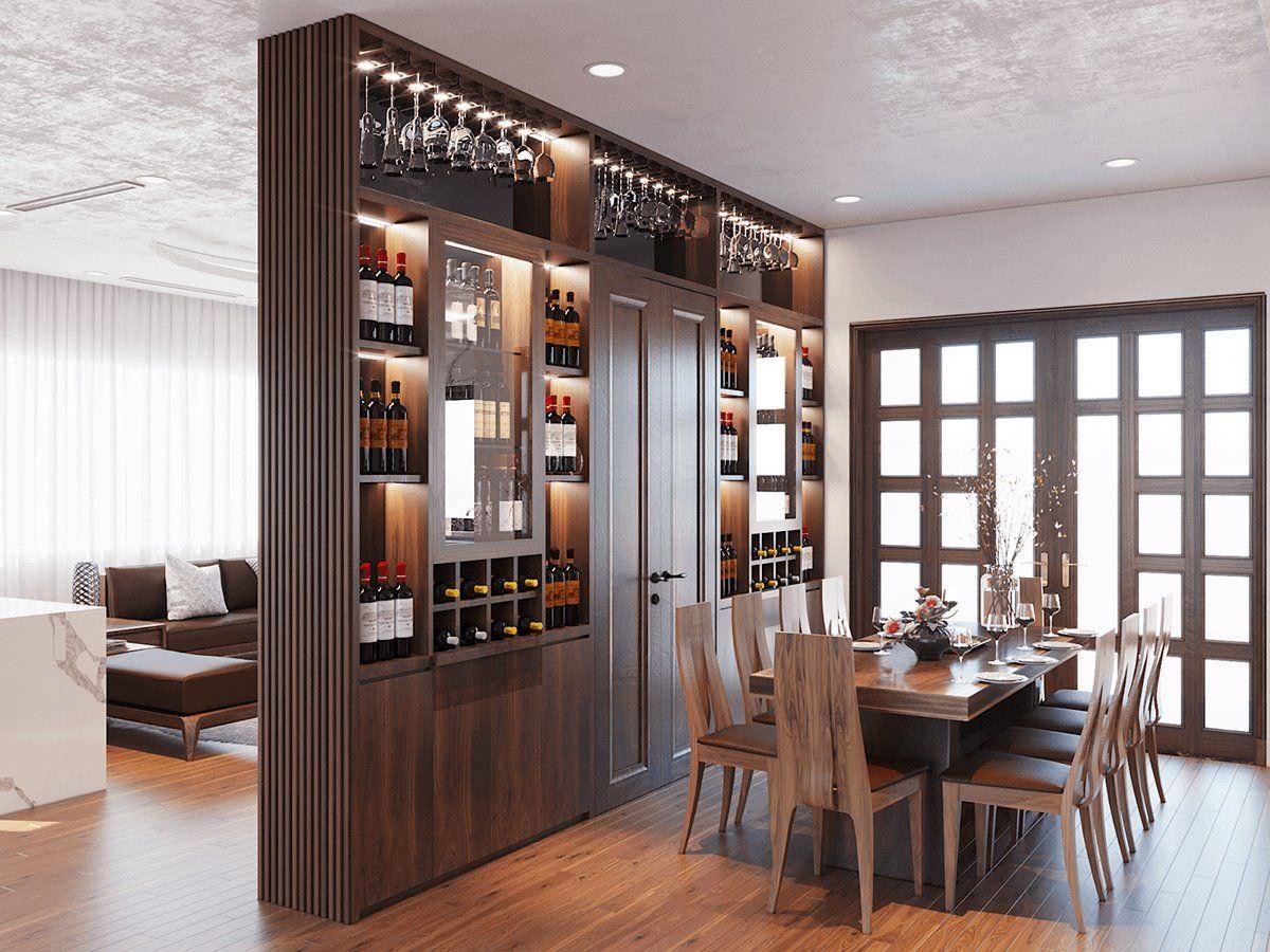 Thiết kế kệ tivi kết hợp tủ rượu lớn làm vách ngăn giữa phòng khách và phòng ăn