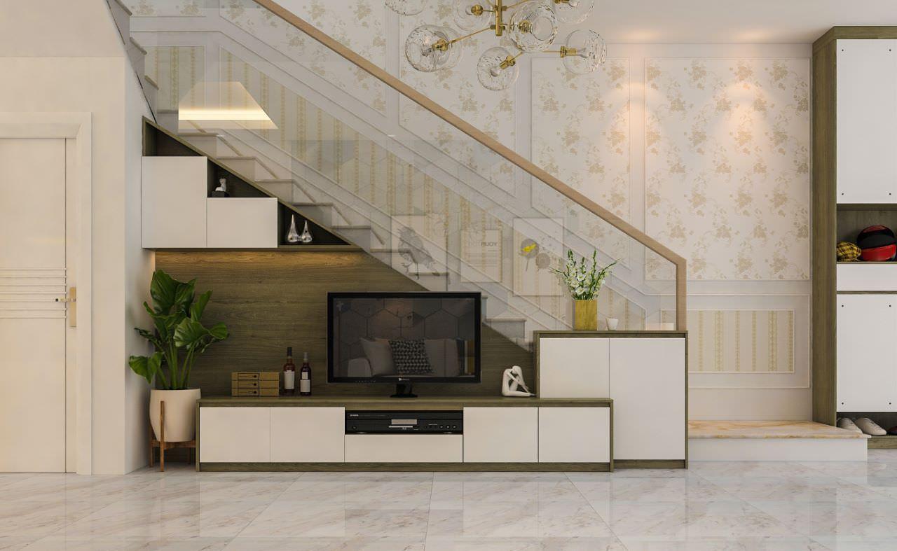 Mẫu kệ tivi đặt dưới cầu thang đẹp nhất