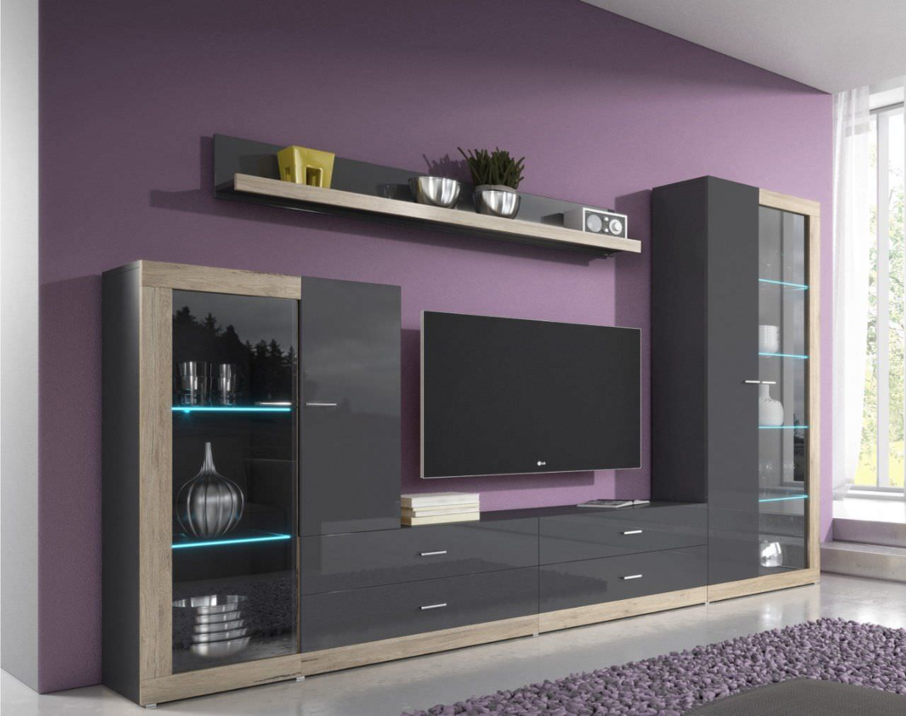 Kệ tivi kết hợp tủ rượu gỗ công nghiệp sơn màu đen hiện đại