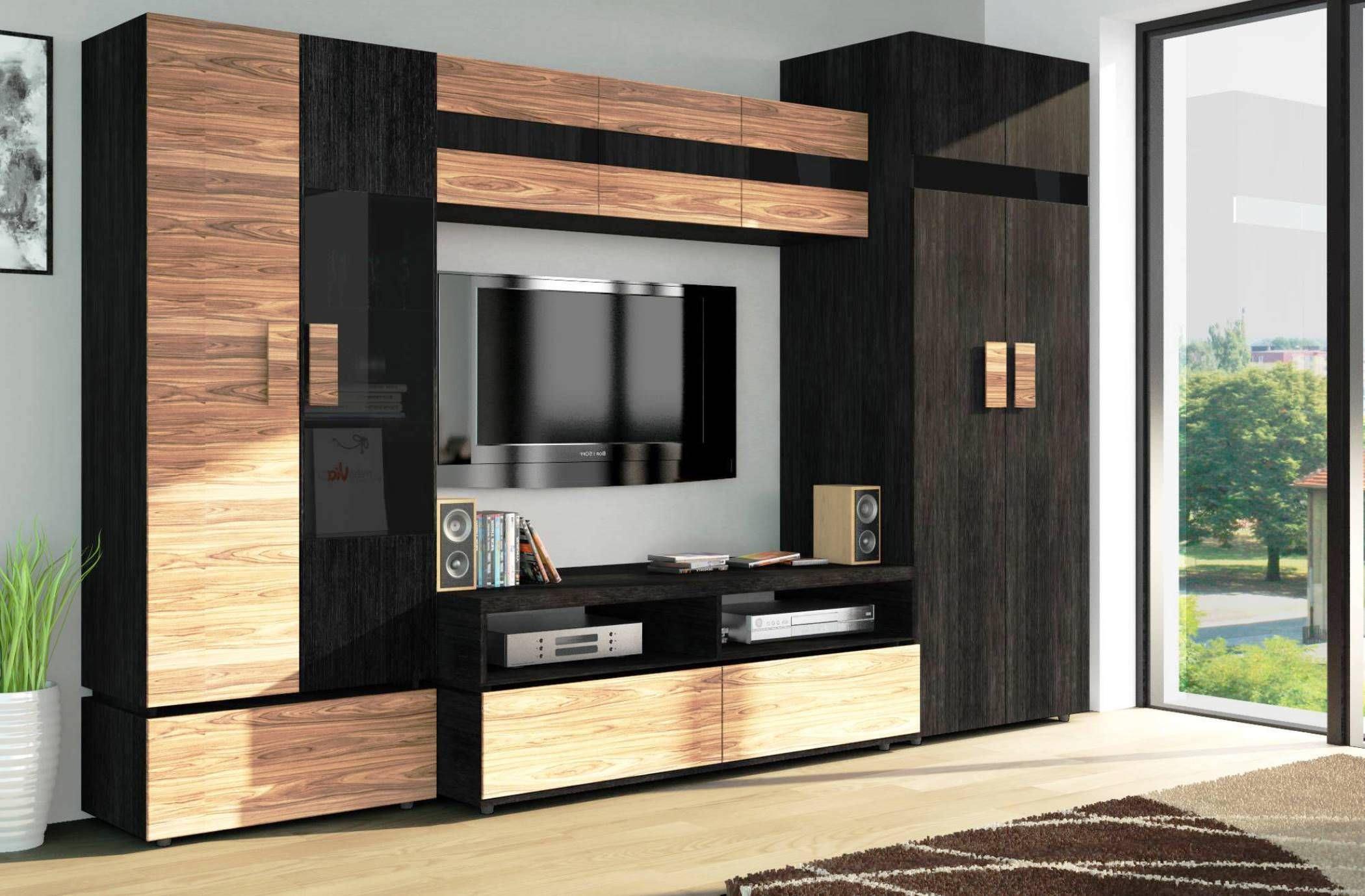 Kệ tivi kết hợp tủ rượu gỗ đóng kín lịch sự với 2 gam màu nâu và đen sang trọng