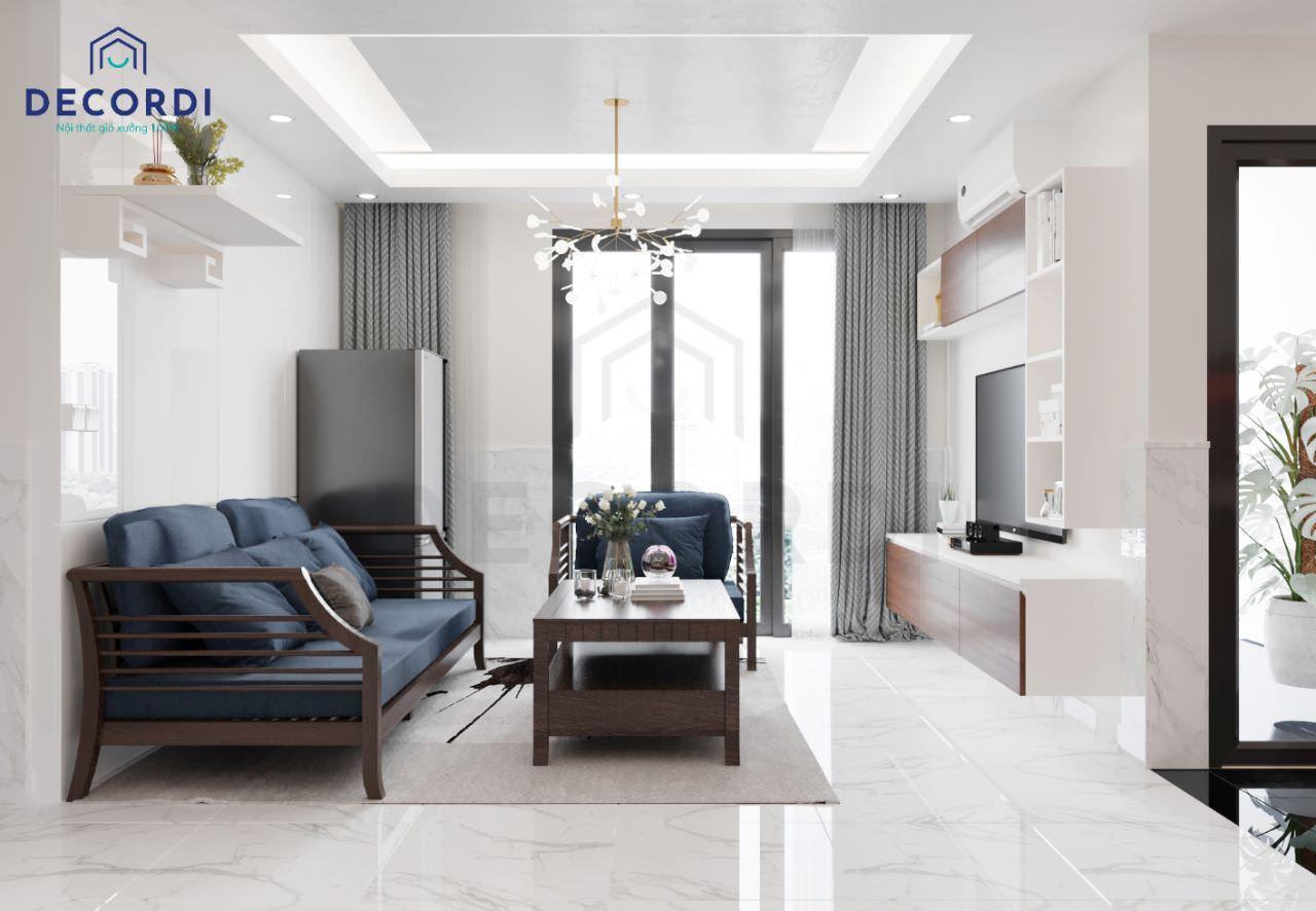 Thiết kế phòng khách chung cư rộng rãi thoáng mát
