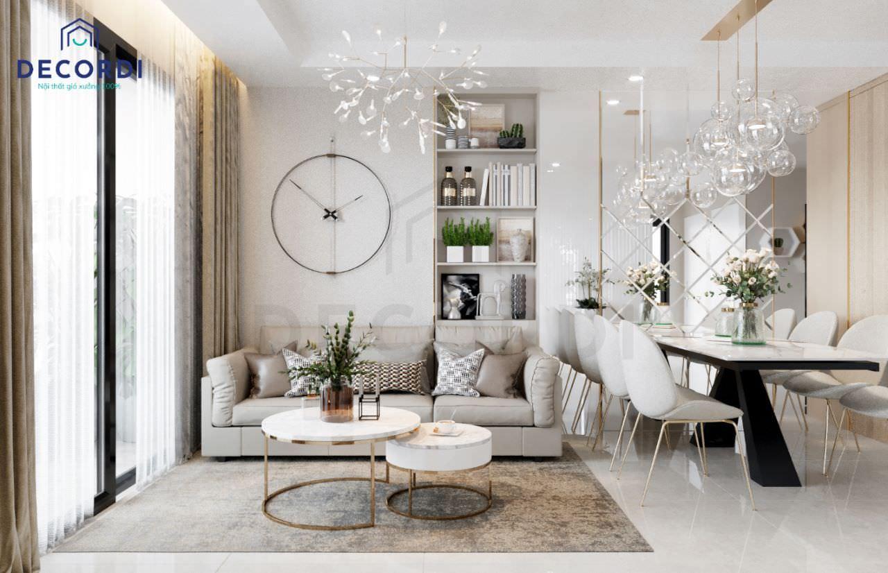 Không gian phòng khách nhỏ gọn với bộ sofa chữ I và bàn trà mặt đá chân sắt mạ vàng