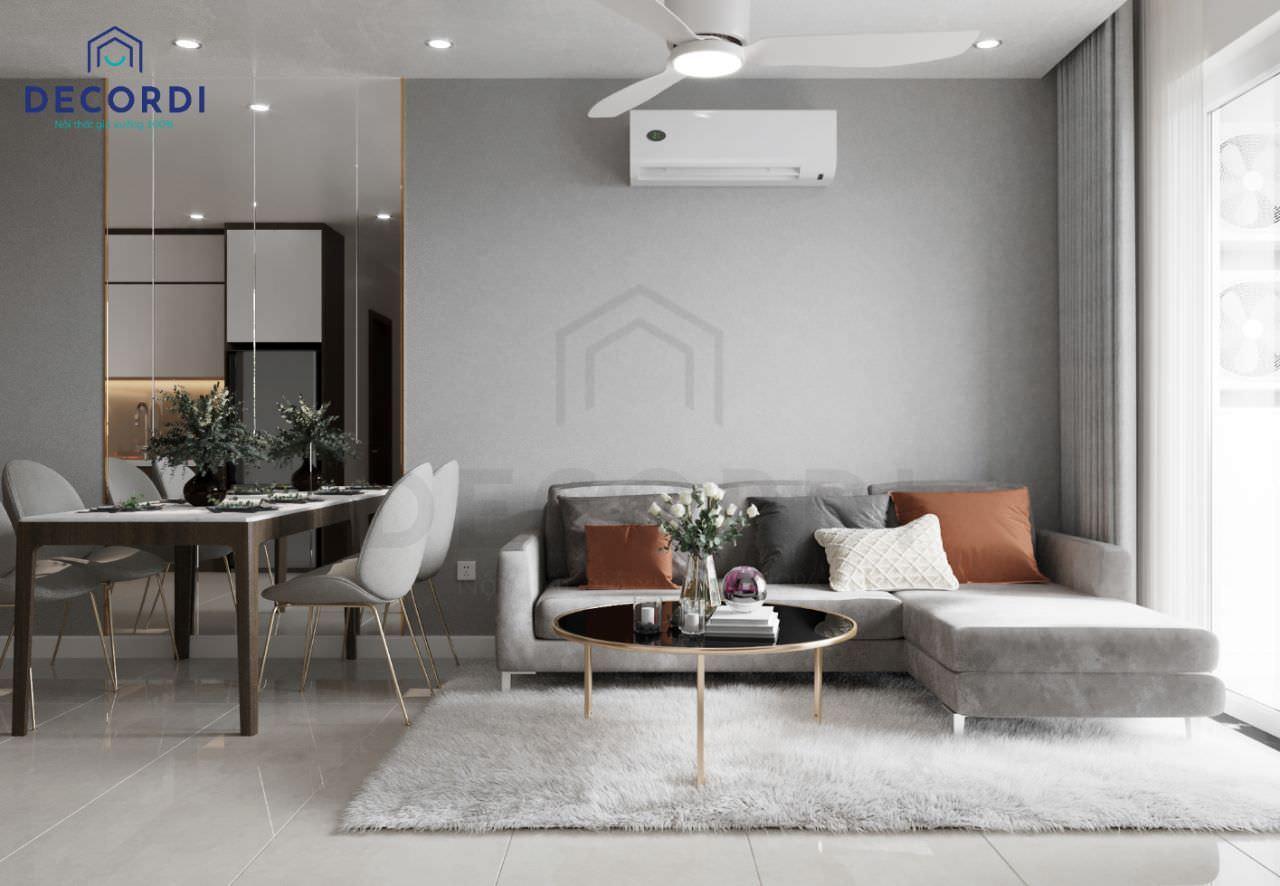 Mẫu phòng khách đơn giản nhưng vô cùng cuốn hút với thảm lông trải sàn