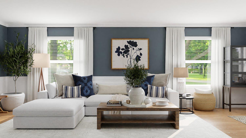 Trang trí phòng khách với tông màu xanh dương phối trắng đẹp mắt