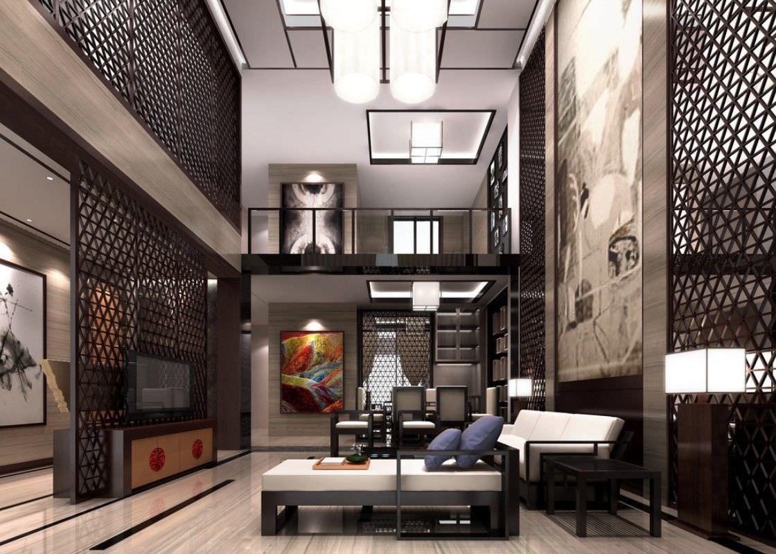 Phòng khách thông tầng biệt thự phong cách Indochine phối màu đen đặc trưng