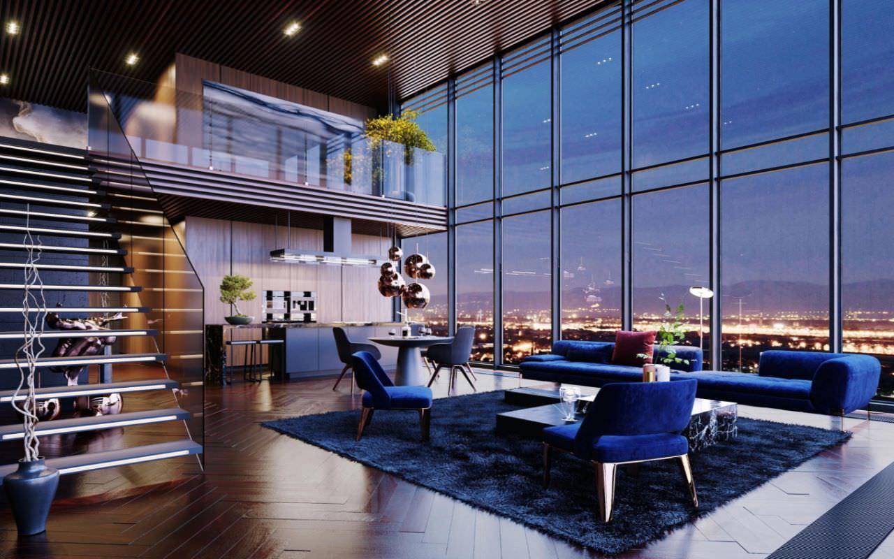 Căn Penthouse phòng khách thông tầng hiện đại tông màu xanh cực cuốn hút và mới lạ