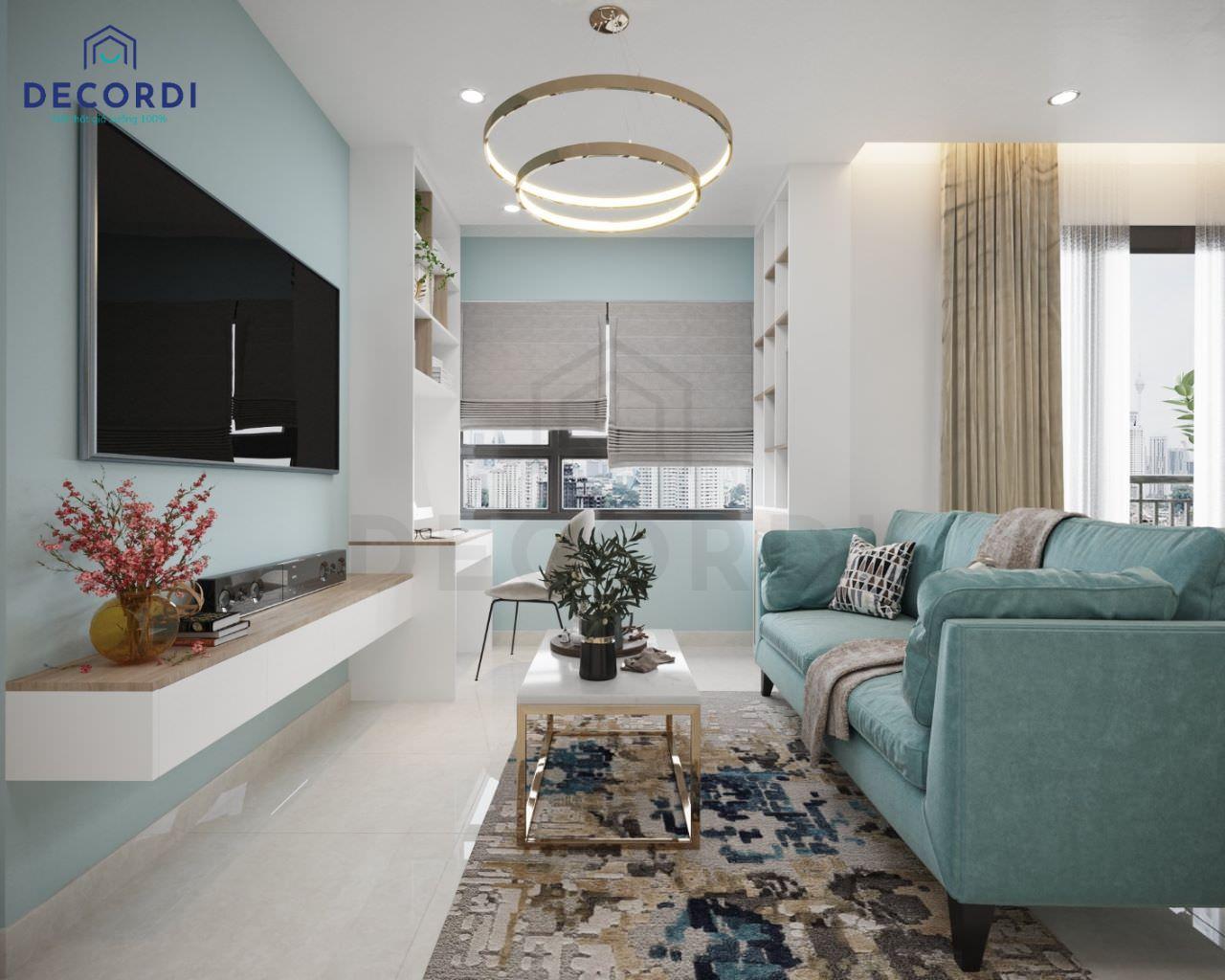 Phòng khách màu xanh ngọc cho chung cư nhỏ thêm tươi mát