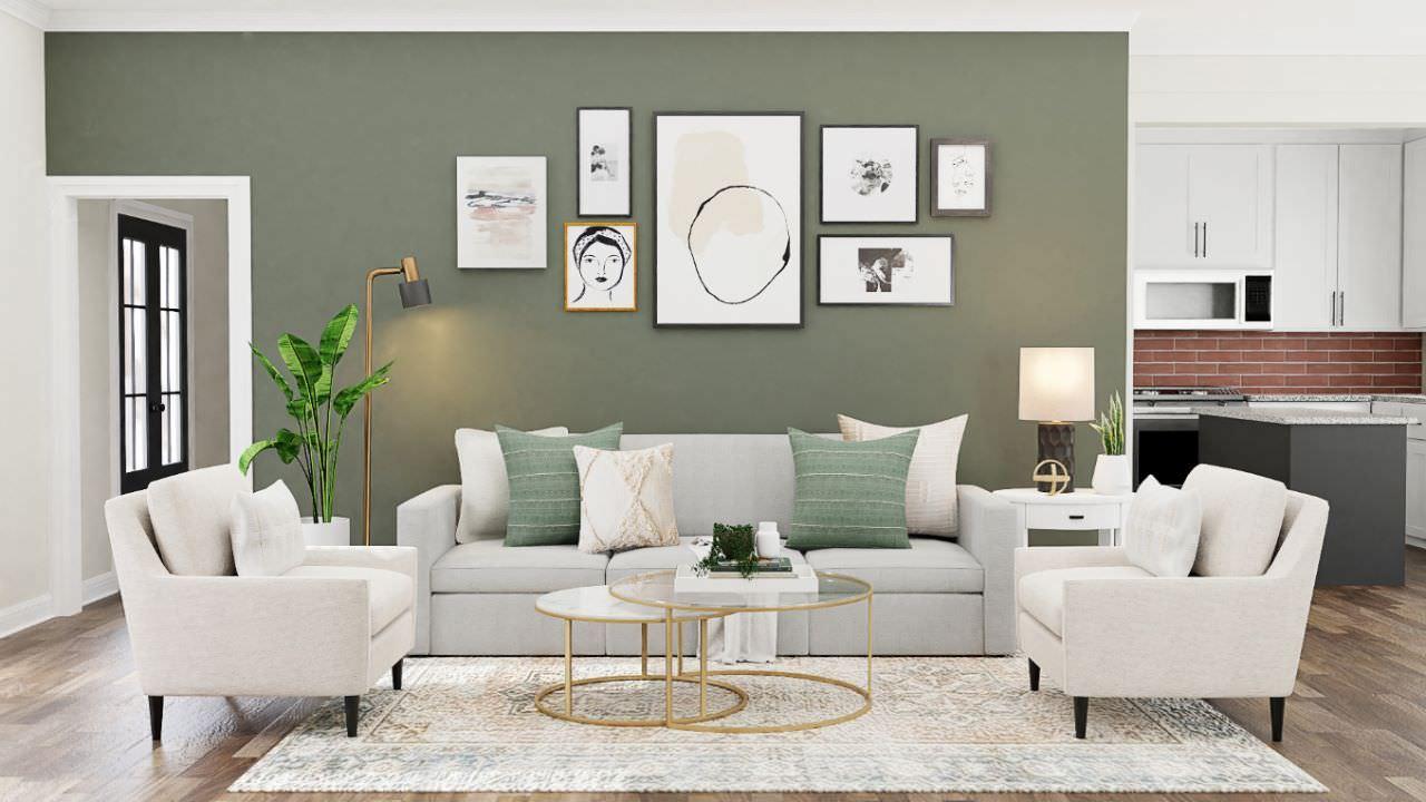 Thiết kế phòng khách đơn giản với bộ sofa làm điểm nhấn chính