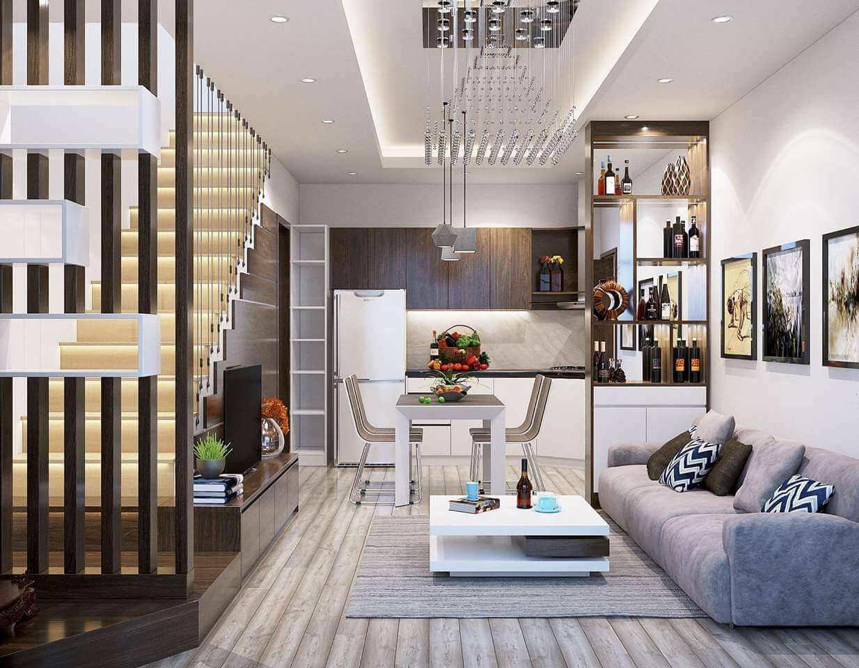 Thiết kế phòng khách nhỏ gọn có cầu thang nhưng vẫn đảm bảo sự tiện nghi và ấm cúng cho gia chủ nhờ cách bố trí nội thất khoa học