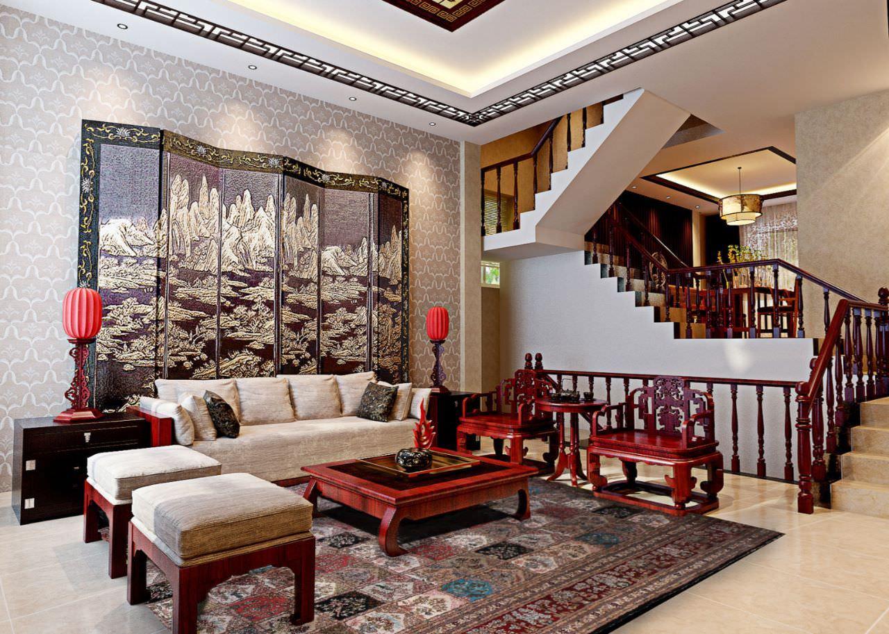Phòng khách thông tầng nhà phố Phong cách Á Đông