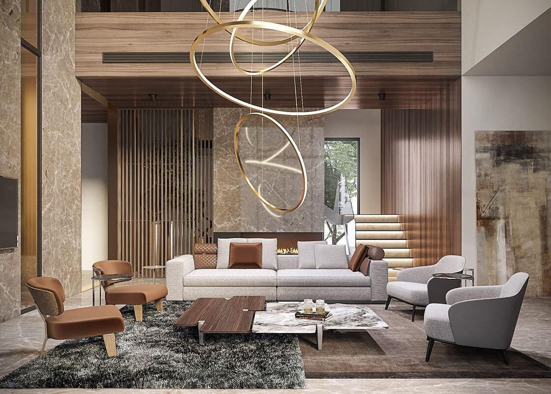Phòng khách thông tầng biệt thự với sự kết hợp của chất liệu gỗ và đá