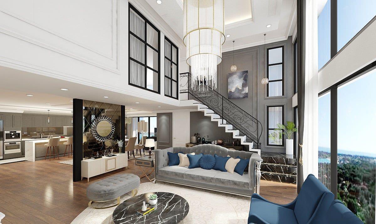 Phòng khách thông tầng hiện đại dạng căn hộ duplex sang trọng