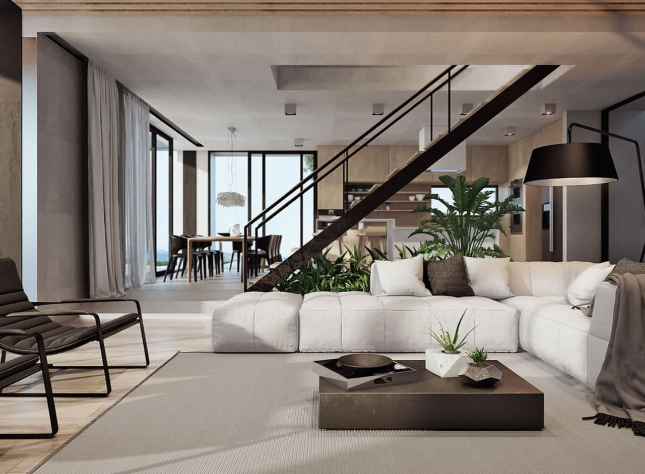 Phòng khách thông tầng cho chung cư phong cách tối giản kiểu Nhật với bộ sofa bệt