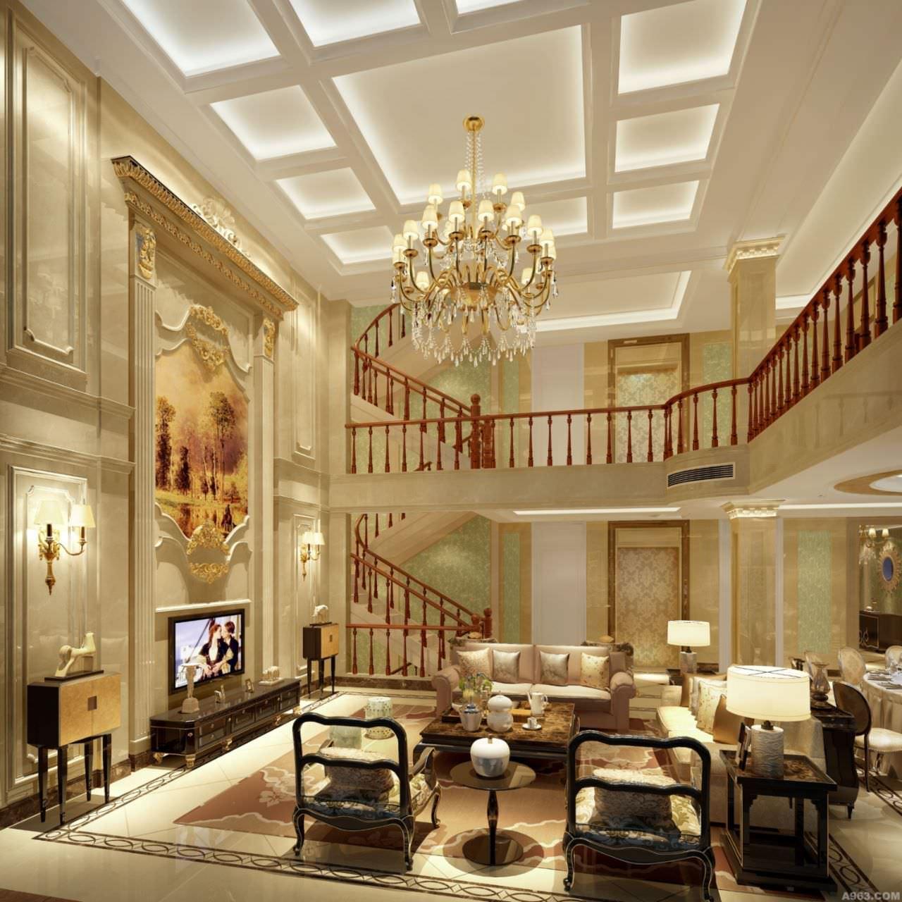 Phòng khách thông tầng biệt thự phong cách cổ điển