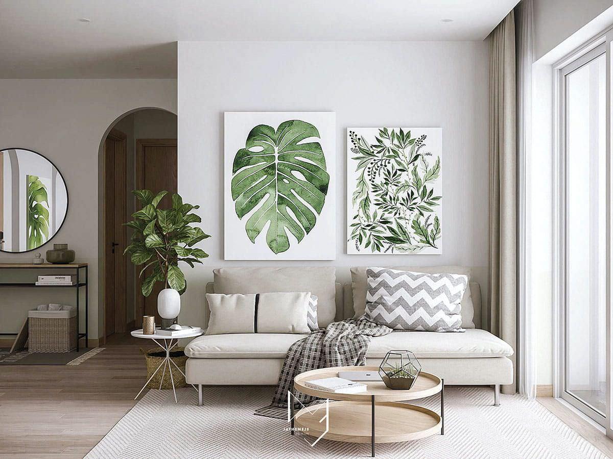 Không gian phòng khách mát mẻ hơn với tranh treo tường hình cây xanh nhiệt đới
