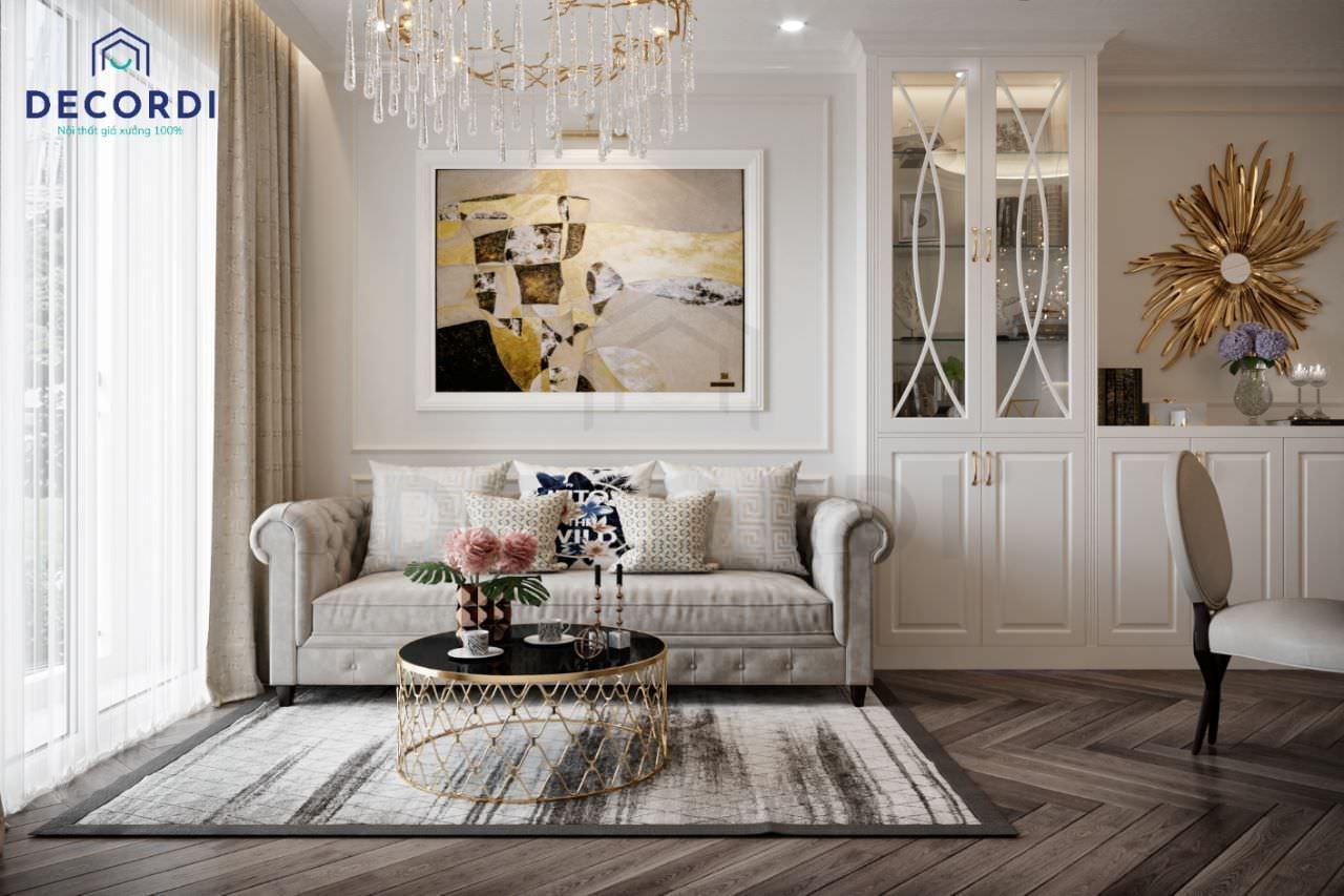 Phong cách tân cổ điển sang trọng trong bộ nội thất phòng khách 12m2