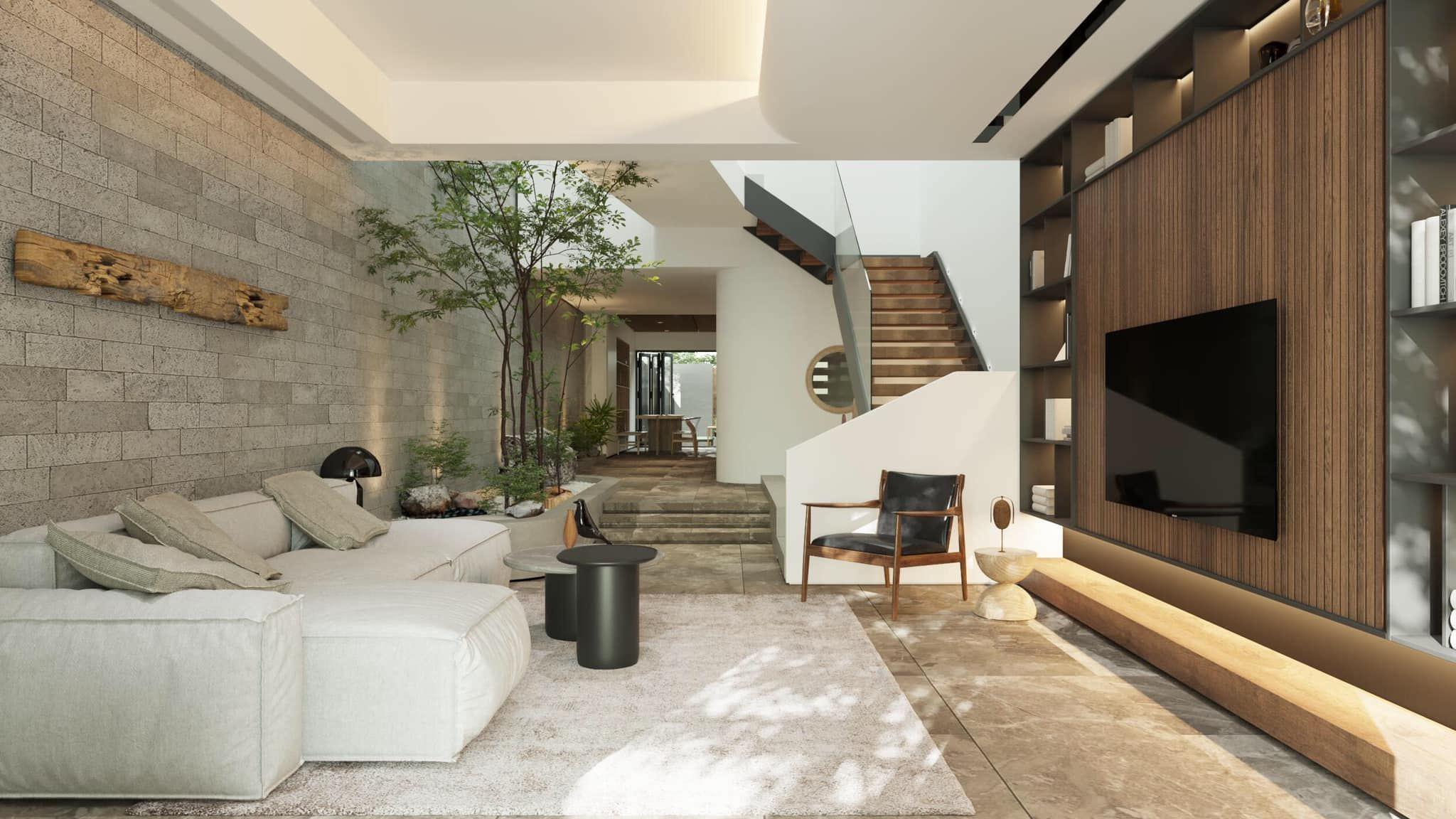 Thiết kế phòng khách nhà ống thông thoáng, mát mẻ, gần gũi với thiên nhiên nhờ cách sử dụng màu sắc tự nhiên từ giấy dán tường giả gạch hay kệ tivi gỗ
