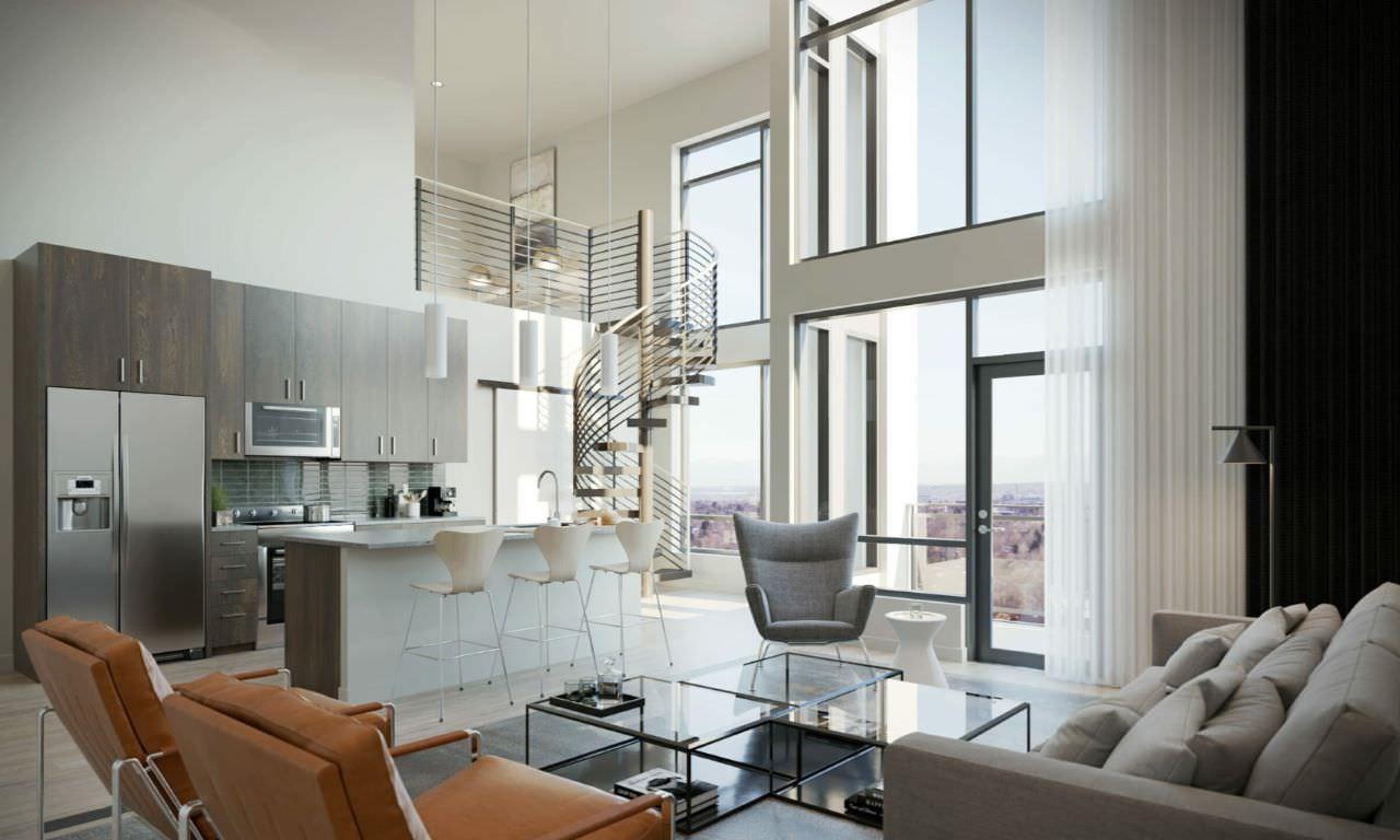 Phòng khách thông tầng hiện đại cao và rộng với tông trắng làm chủ đạo