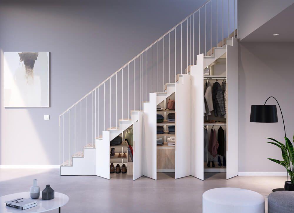 Tủ quần áo đẹp màu trắng được bố trí dưới gầm cầu thang