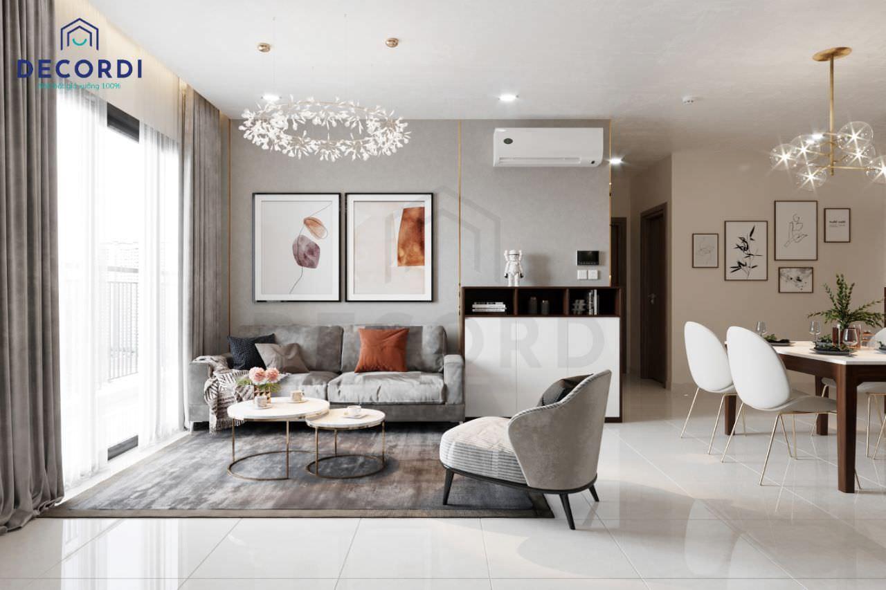 Thiết kế không gian phòng khách 12m2 tông màu ghi sáng sạch sẽ
