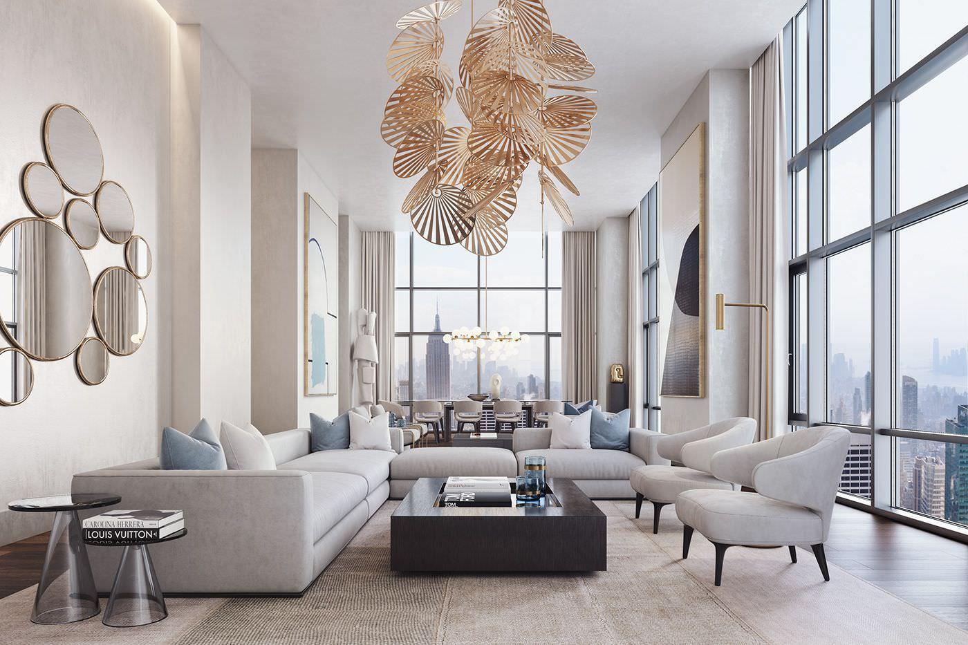Thiết kế nhà có phòng khách thông tầng thông thoáng với hệ thống cửa kính