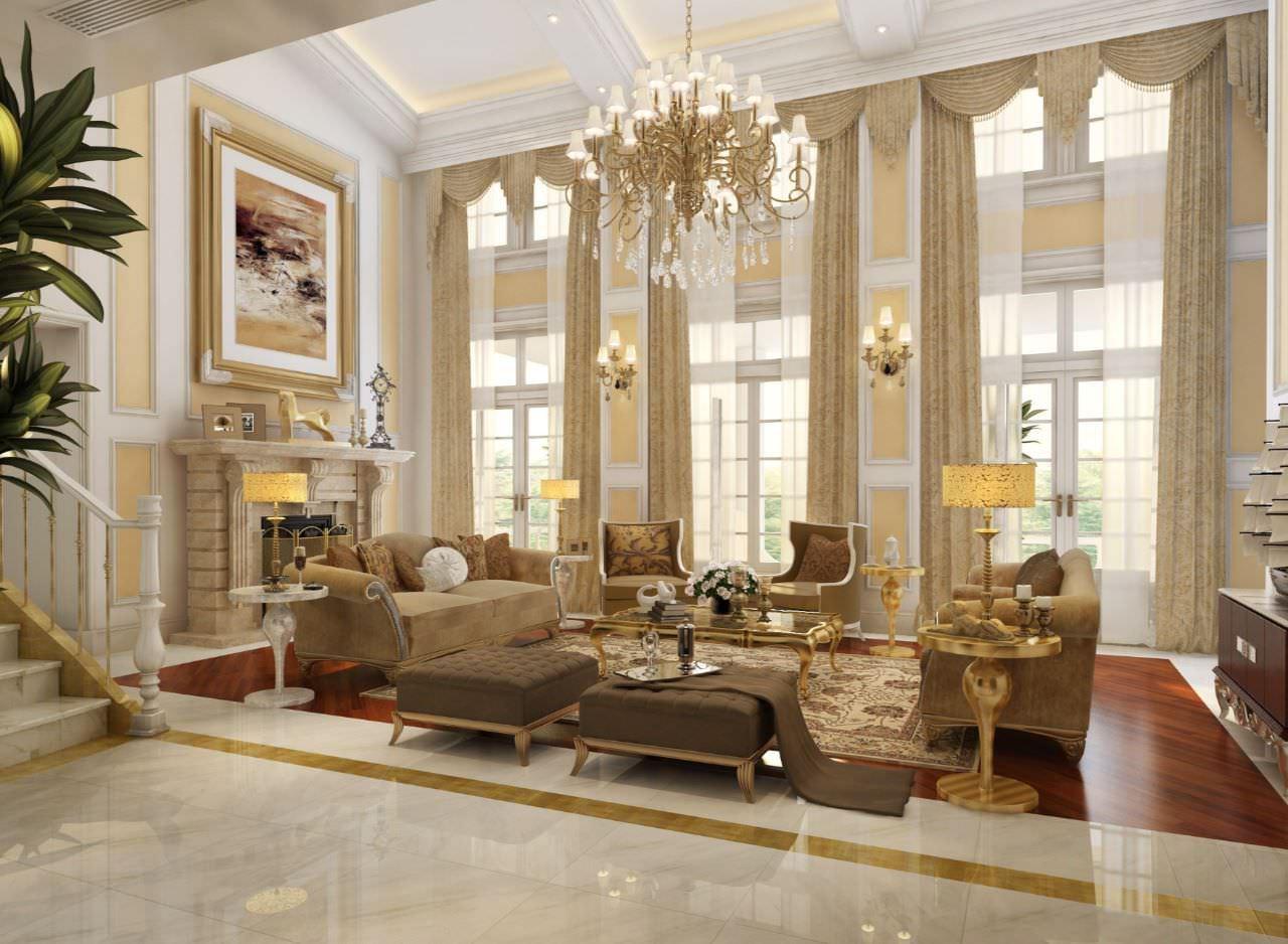 Phòng khách thông tầng biệt thự cổ điển tông màu kem thể hiện nét xa hoa và quý phái