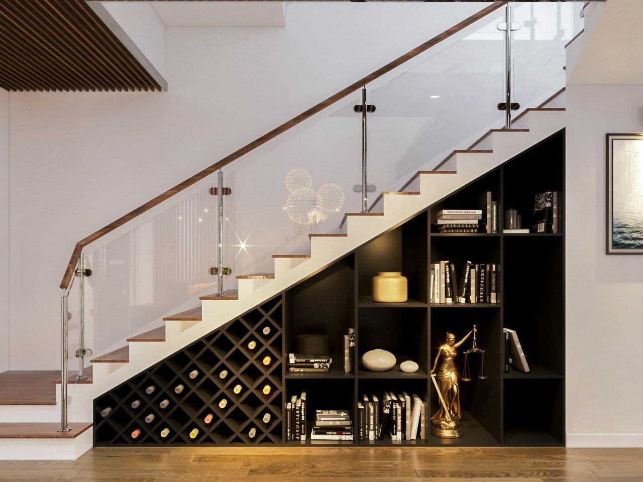 Cách làm tủ gầm cầu thang thêm ấn tượng với chất liệu gỗ công nghiệp bền đẹp với lớp sơn màu đen thu hút